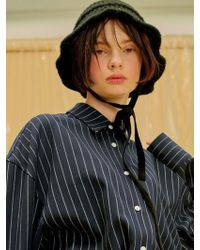 1159 STUDIOS - Velvet Ribbon Knit Hat_black - Lyst