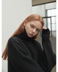 NILBY P - Roomy Turtleneck Dress Black - Lyst