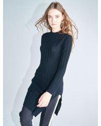 AYIHOLIC CASHMERE - Merino Wool Edition One Side Slit Dress Black - Lyst
