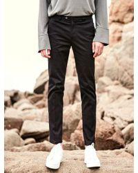 YAN13 - Standard Fit Cotton Slacks Black - Lyst