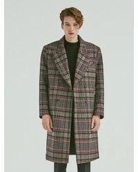 Add - Check Double Long Coat Black - Lyst