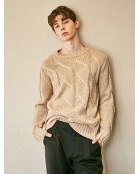 YAN13 - Wave Quality Sweater_beige - Lyst