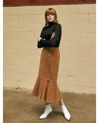 COLLABOTORY - Corduroy Mermaid Skirt Camel - Lyst