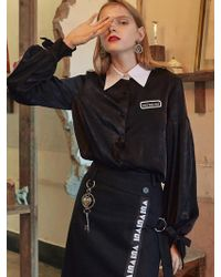 VVV - Black Logo Ribbon Blouse - Lyst