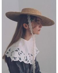 Awesome Needs - Raffia Straw Boater Hat Lace Ribbon - Lyst