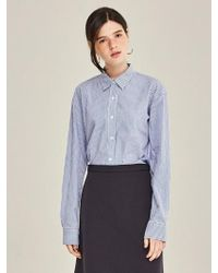 LIUNICK - Cotton Stripe Oversize Shirts Blue - Lyst