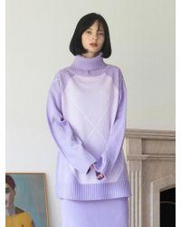 TARGETTO - Argyle Turtleneck Lilac - Lyst