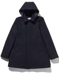 LIFUL MINIMAL GARMENTS - Reversible Hoodie Over Coat Navy - Lyst