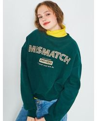 ANOTHER A - Mismatch Crop Sweatshirt Green - Lyst