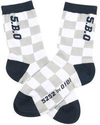 W Concept - Checker Board Socks Navy - Lyst