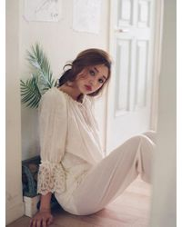 ULLALA PAJAMAS - Eclad Cream Long Sleeve Twopiece - Lyst
