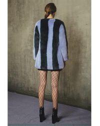 Jin Jin Island - Stripe Faux Fur Coat Blue Green - Lyst