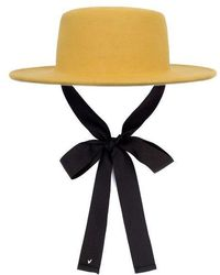 Awesome Needs - Lambs Wool Boater Hat_mustard_face Ribbon - Lyst