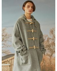 W Concept - [unisex]8f Oversized Duffle Coat Gray - Lyst