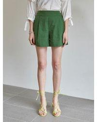 YAN13 - Linen Pintuck Culotte Trousers Green - Lyst
