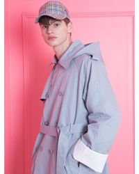 WAIKEI - [unisex] Roll-up Detachable Hood Trench Coat Skyblue - Lyst