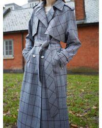 AVA MOLLI - Pauline Flap Trench Coat Grey - Lyst