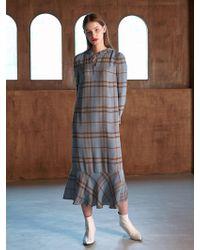 COLLABOTORY - Bacma4012m Hoodie Maxy Peplum Print Dress Check - Lyst