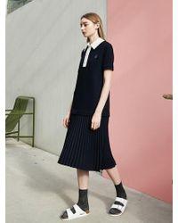 COLLABOTORY - Pique Pleats Dress Navy - Lyst