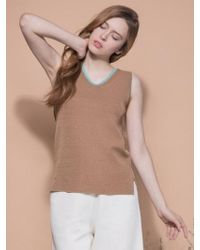 MOIMOII - Color Line Sleeveless V Knit Top - Lyst
