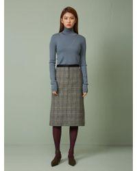 Aheit - High Neck Wool Knit Pullover Titanium - Lyst