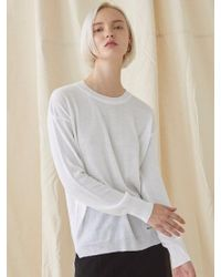 MILLOGREM - Simple Round Neck Knitwear - White - Lyst