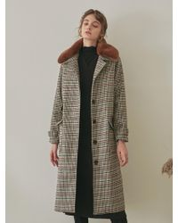 YAN13 - Faux Fur Collar Check Mac Coat Gray - Lyst