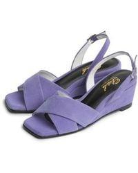 W Concept - Light Purple X Strap Wedge Heel Comfortable Sandle - Lyst