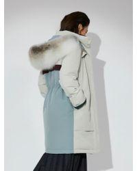 Aheit - Fox Fur Trimmed Down Filled Parka Light Beige - Lyst