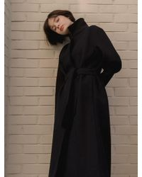 NUISSUE - Standard Wool Coat Black - Lyst