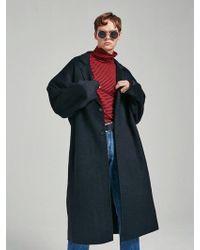 YAN13 - Handmade Over Wool Coat Black - Lyst