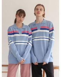 TARGETTO - [unisex] Stripe Knit Pique Sky Blue - Lyst