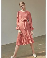 YAN13 - Wrinkle Plitz Long Dress Cherry Red - Lyst