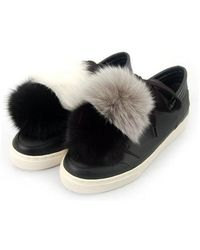 SHOBONYATA - Fox Fur Pompon Sheepskin Sneakers_ws3032f - Lyst