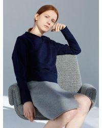 AECA WHITE - Double Pique Sweatshirt Navy - Lyst