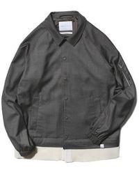 LIFUL MINIMAL GARMENTS - [unisex]knit Layered Tr Coach Jacket Charcoal - Lyst