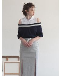 TARGETTO - Off Shoulder Pique T-shirt Navy - Lyst