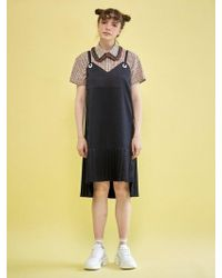 W Concept - Pleats Slip Dress Navy - Lyst