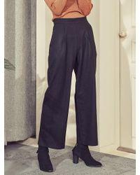 Blank - Wool Wide Slacks Black - Lyst