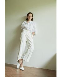 AEER - Trousers Wide Cotton White - Lyst