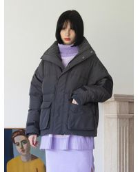 TARGETTO - [unisex] Pocket Puffy Jacket Chacoal - Lyst