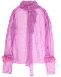 VVV - Lilac Pink Dots Lace Ribbon Top - Lyst