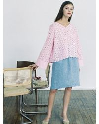 THE ASHLYNN - Selflove Daisy Cotton Embroidery Top_pink - Lyst