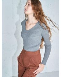 AYIHOLIC CASHMERE - Ribbed V Kneck Knit Top Grey - Lyst