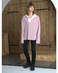 W Concept - Oversized Collared Rugby Shirt _ Pink - Lyst