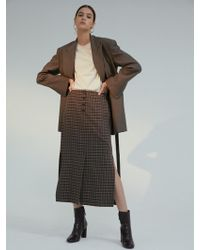 AEER - Skirt Check H Line Banding Brown - Lyst