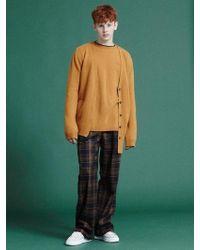 NOHANT - [unisex]unbalanced Knit Cardigan Mustard - Lyst