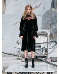 NINE ONE TWO - Combine Hoodie Dress_black - Lyst