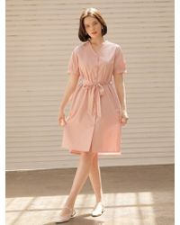 W Concept - V Cotton Dress Pink - Lyst