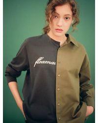 Fleamadonna - Long Sleeve Half Shirt Khaki - Lyst